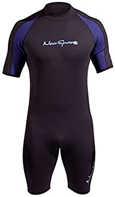 NeoSport Mens and Womens 3mm Short Wetsuit - Scuba Diving, Snorkeling and Water Sports - Comfort, Flexible and Anatomical Fit - Internal Key Pocket and Adjustable Collar