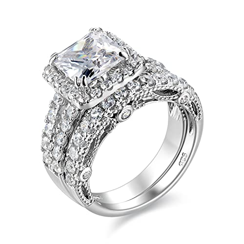 Wuziwen 4Ct Engagement Ring for Women Sterling Silver Cubic Zirconia Wedding Band Bridal Set Size 8