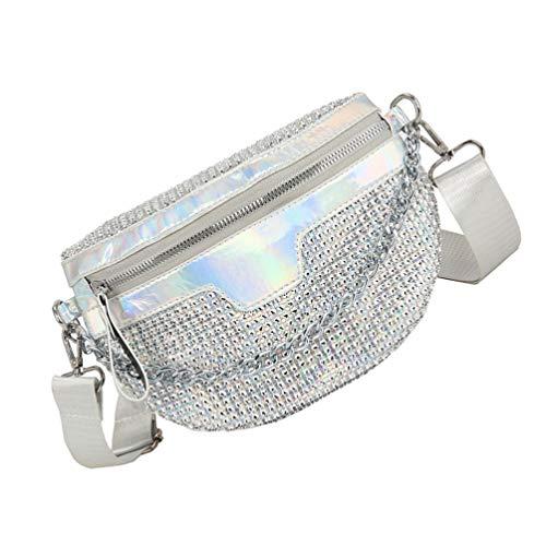 Amosfun Gürteltasche Glitzer Hüfttasche Casual Schultertasche Hobo Handtaschen Arbeit Tote Große Kapazität Handtasche für Mädchen Shopping Schule Silber