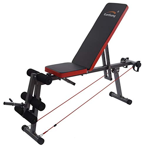 Adjustable Foldable Weight Bench, 660 lbs Multi-Purpose Exercise Equipment Flat/Incline/Decline Utility Flat Bench Press with Leg Extension for Full Body Workout for Home, Gym (Black)