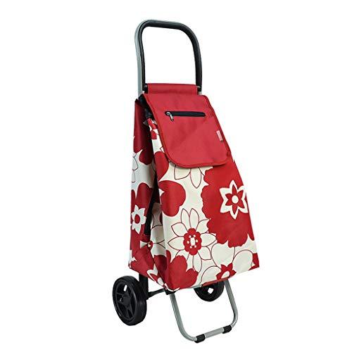 Rollatoren Einkaufstrolleys Shopping Trolley Tragbare Trolley Car Klettern Fußboden zu Einer Nahrungsmittel-LKW Alter Wagen kaufen kann 20 Kg Bär (Color : Red, Size : 93 * 33 * 31cm)