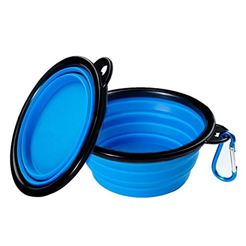 S-Lifeeling 2 Packs of Fashion Collapsible Dog Bowl, Food Grade Silicone BPA Free FDA Approved Pet bowl, Foldable Expandable Cup Dish for Food Water Feeding Portable Travel Bowl