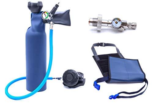 MiniDive Mini Duikfles 0,8 L Blauwe Aluminium Met DIN Vulstation En Holding Harness I Onderwater Ademend Duikmateriaal Unisex