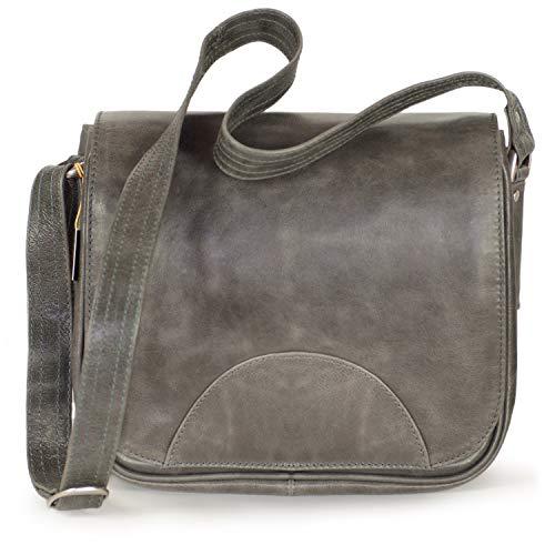Damen Handtasche Größe M Umhängetasche im Retro-Look aus Echt-Leder, Anthrazit-Grau, Hamosons 577
