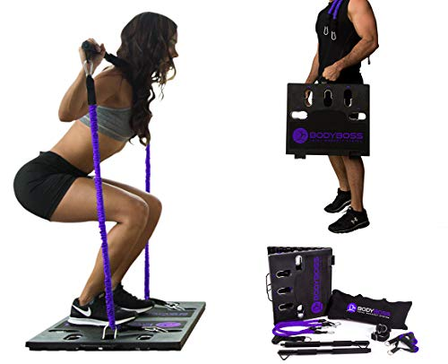 BodyBoss Home Gym 2.0 - Full Portable Gym Home Workout Package + 1 Set of Resistance Bands - Collapsible Resistance Bar, Handles - Full Body Workouts for Home, Travel or Outside - Purple
