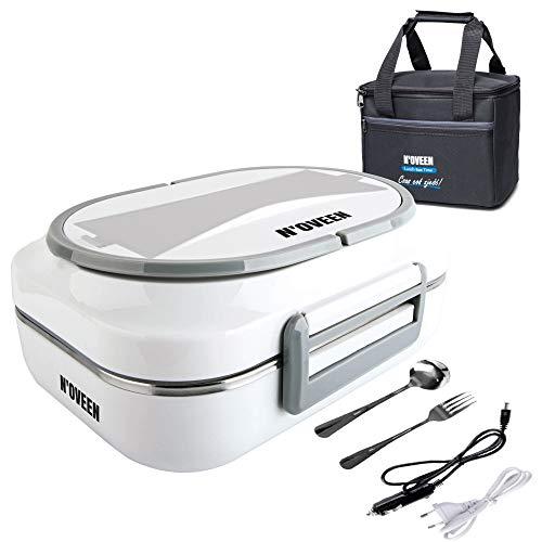 N'OVEEN Elektrische Lunchbox LB510 Speisenwärmer, Thermo lunchbox Heizplatte mit 1 Liter Fassungsvermögen – 230V + 12V (Auto) - Food Box Warmhalteplatte bis 60°C für Ausflüge, Camping und Urlaub(Grau)