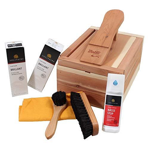 Caja para el cuidado del calzado de madera de cedro, nuevo con productos Solitaire para el cuidado de los zapatos bien arreglados