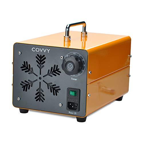 COVVY Generatore di ozono commerciale,macchina mobile industriale dell'ozono O3 purificatore d'aria deodorante sterilizzatore per la rimozione di odori,per casa,ufficio,hotel,auto (Giallo,15000mg)