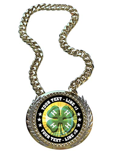 Express Medals Metal Version 4H Champ Chain Trophy with 2 Lines of Personalized Custom Text on a Large Award Medal and Attached 34 inch Long Metal Neck Chain. MY423