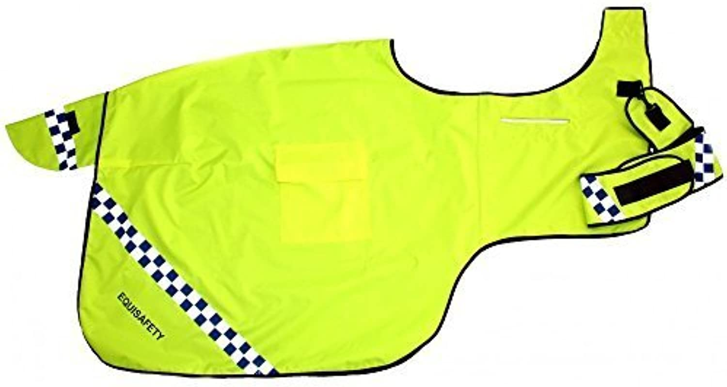 EQUISAFETY POLITE WINTER WRAP AROUND HORSE PONY EXERCISE RUG WATERPROOF HIGH VIZ REFLECTIVE (XXS PONY)