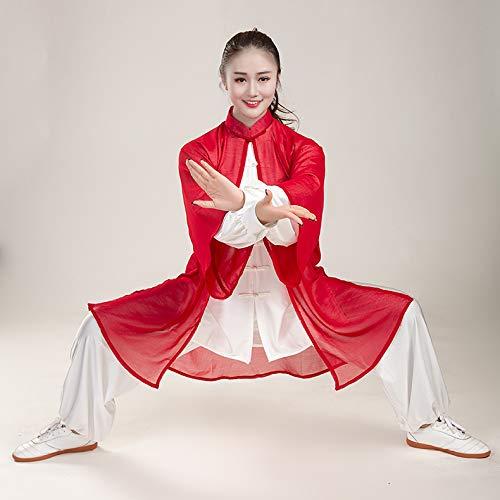 Donna Tai Chi Abbigliamento,Cinese Tradizionale Arti Marziali Manica Lunga Costume Shaolin Wing Chun Qi Gong Chiffon Uniforme Set da 3 Pezzi,Red-L