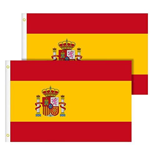 TIMESETL 2 Stück Spanien Flagge 90 x 150 cm groß, Spanien Fahne Spain National Flagge aus Polyester, UV-beständig reißfest Wetterfest Flagge von Spanien