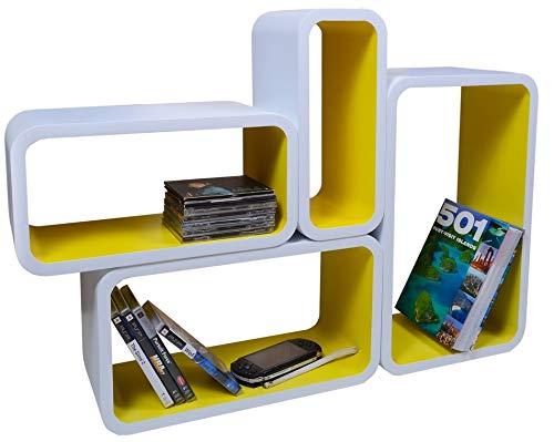 Mensola da Muro Libreria Scaffale Vari Colori retrò Cubi Moderno LO01 (Bianco/Giallo)