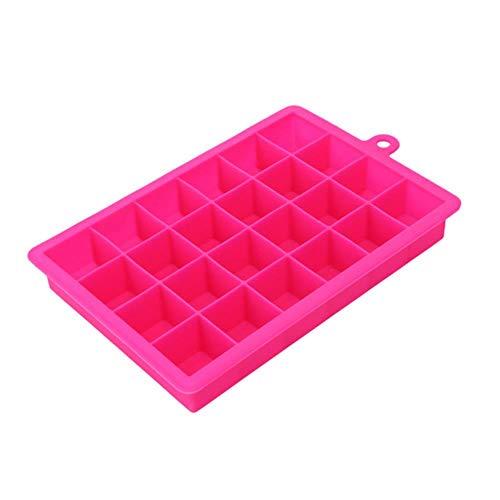 CTOBB 24 Grille Ice Cube Moule Forme carrée Silicone Ice Plateau Déverrouillage Ice Cube Maker Bricolage Fruits Moule à Glace Accueil Bar Accessoires de Cuisine, Rose