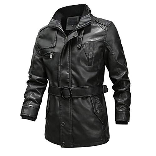BDVGYXL Chaquetas para Hombre Chaqueta de Cuero para Hombre Invierno Largo Motocicleta para Hombre PU Cazadora Moda Slim Fit Hombre Marca Ropa 6XL 6XL Negro