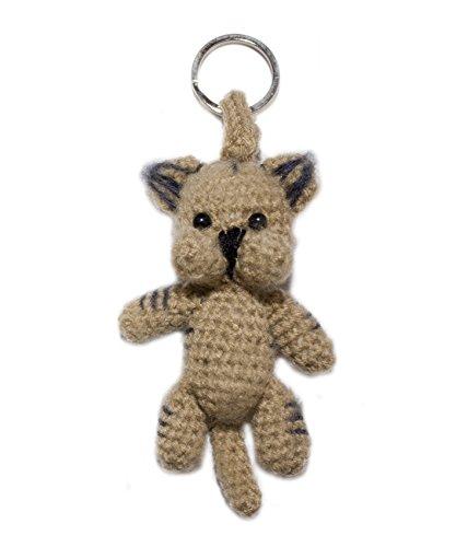 Bers Schlüsselanhänger Katze braun aus Stoff gehäkelt Handarbeit