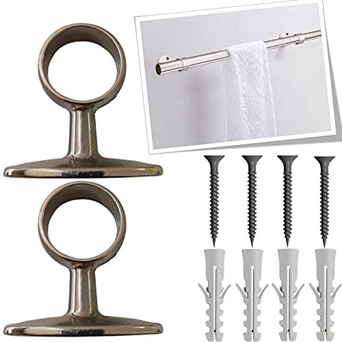 parpyon® 2 Soportes de barra de cortina de metal, soportes de barra de cortina de 32 mm, material resistente para montaje en pared o techo (518)
