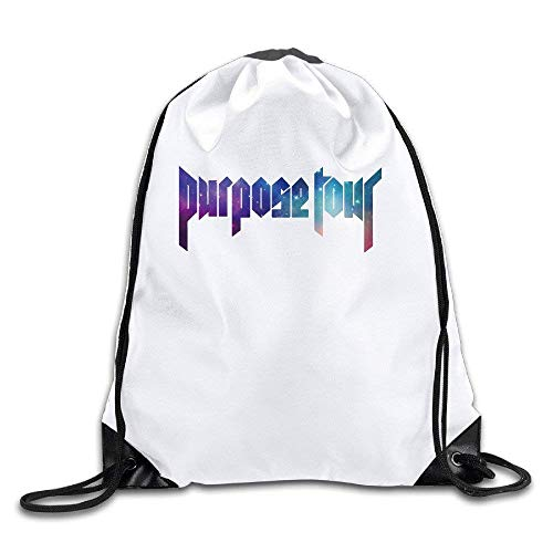 Ccsoixu Justin Bieber Purpose World Tour Sky Logo Drawstring Backpack Sports Bag for Men and Women,Drawstring Bag Sport Gym Backpack Gym Bag for Men and Women