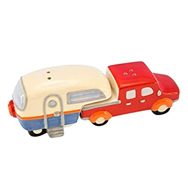 Beachcombers Truck Retro Trailer Camper 2 Piece Ceramic Salt and Pepper Shaker Set