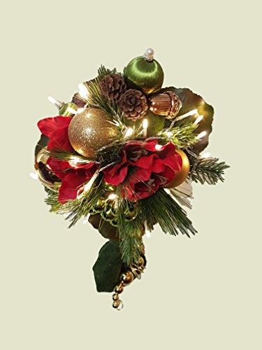 Weihnachtsstrauß Nr.15 - mit roten Amarillis und LED-Licherkette - Strauss künstlich Winter - Liegestrauß Seidenblumen Handstrauß Blumenstrauss Winterstrauss