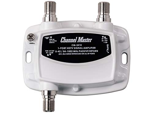 Channel Master Ultra Mini TV Antenna Amplifier, TV Antenna Signal Booster for Improving Antenna or Cable TV Signals to a Single Television (CM-3410),White