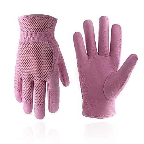 HANDLANDY Damen Gartenhandschuhe von Schweinsleder mit 3D-Netzstoff Design ,Kratzfestige Handschuhe für Garten und Allgemeine Arbeit,Rosa