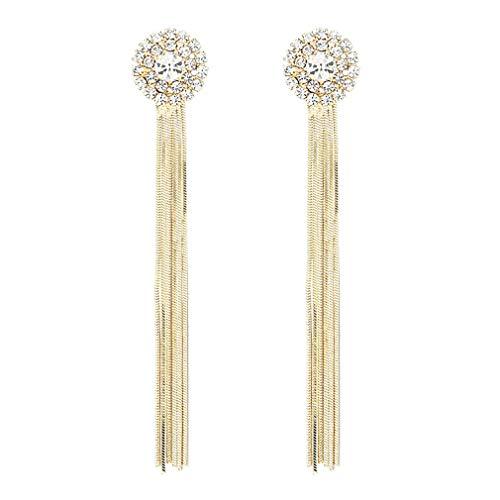YAZILIND Retro Tassel Drop Earrings Exquisite Gemstone Rhinestone Dangle Earring Women Wedding Jewelry(Gold)