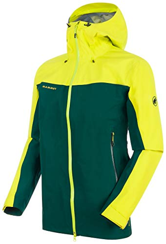 Mammut Crater HS Hooded Anorak, Hombre, Azul (Dark Teal) / Amarillo (Canary), S