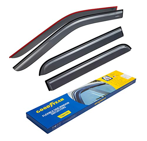 Goodyear Shatterproof Side Window Deflectors for Trucks Ford F-150 2015-2020 SuperCrew, Tape-on Rain Guards, Vent Window Visors, 4 Pieces - GY003112