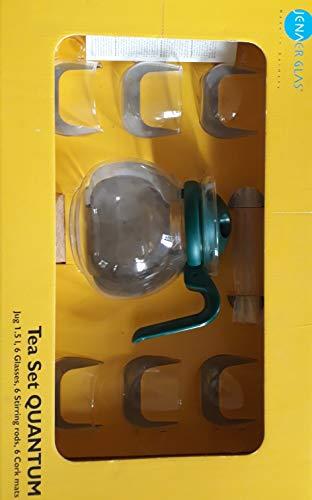 Jenaer Glas Krug-Set Quantum - 1,5 l 0,2 l (Krug rund dunkelgrün, 6 Bowlegläser mit Henkel, 6 Rührstäbchen, 6 Korkuntersetzer)