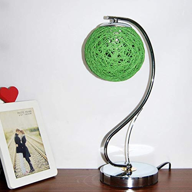 ZY  Schreibtischlampen Kreative Schlafzimmer Nachttischlampe Bunte Hochzeitsdekorationen Hanf Ball Geburtstagsgeschenk Dimmen Schreibtischlampe Für Studie Wohnzimmer Büro (Ohne Lampen) (Farbe  Grün)