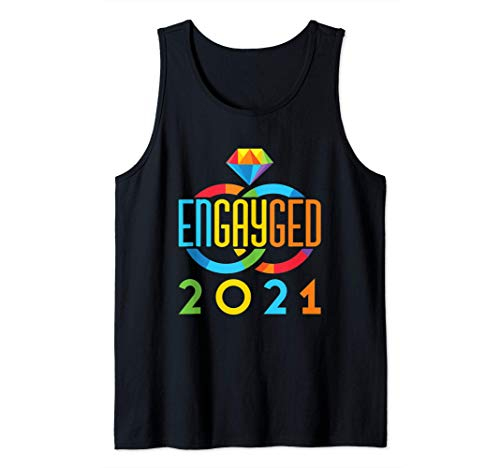 Engayged 2021 Engaged Gay Lesbian Couple Rainbow Pride LGTBQ Tank Top
