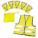 elasto form Warnwesten 5er-Set im Etui nach EN ISO 20471 Zertifiziert Warnweste Gelb Einheitsgröße XXL mit Reflektorstreifen