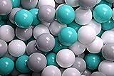 MEOWBABY 100 ∅ 7Cm Bolas Certificadas para Niños Bolas de Baño de Colores Bolas de Plástico para Niños Piscina Fabricadas en EU Turquesa/Blanco/Gris