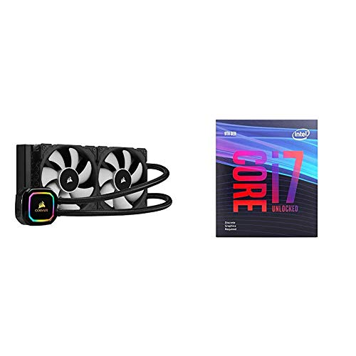 Corsair iCUE H100i RGB Pro XT, 240mm Radiator, Dual 120mm PWM Fans, Software Control, Liquid CPU Cooler with Intel BX80684I79700KF Intel Core i7-9700KF Desktop Processor 8 Cores