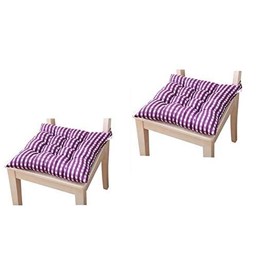 Stuhlkissen Sitzpolster für Esszimmerstuhl Garten Küche Esszimmerstuhlkissen zum Aufbinden (2er Pack) (lila)