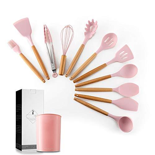 ERWEF Vier-Farben-Silikon-Küchenutensilien, 11-teiliges Set, Antihaft-Kochwerkzeuge sind als Zubehör for Ihre Küche (Color : 3)