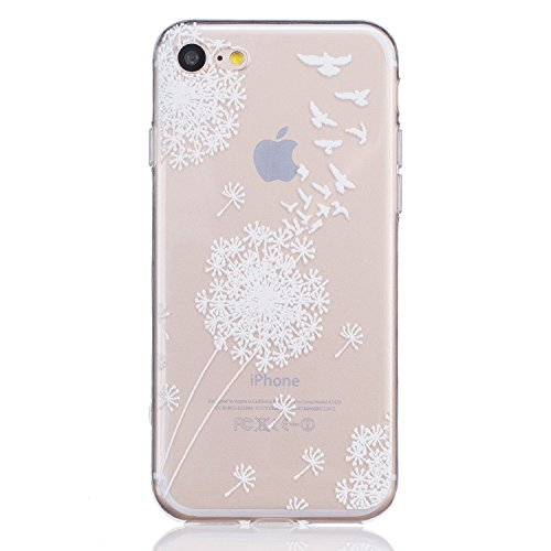 iPhone 8 Case, iPhone 7 Case, 3Cworld Ultra Thin Clear Art Pattern Crystal Gel TPU Rubber Flexible Slim Skin Soft Case for iPhone 7 / iPhone 8 (Dandelion/Bird Flying-White)