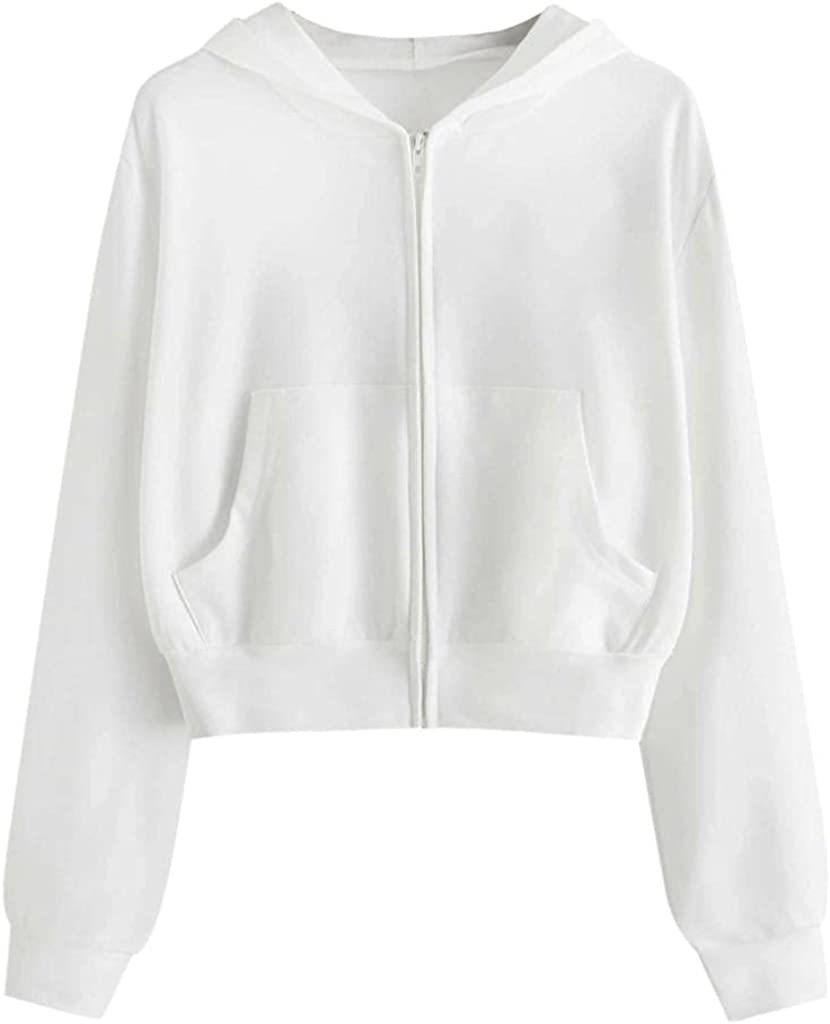 Crop Hoodies for Women Women's Solid Color Zip up Long Sleeve Crop Top Hoodies Casual Drawstring Sweaters Cropped Pullover