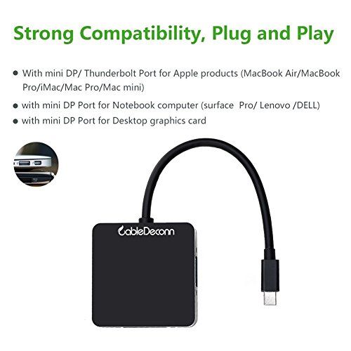 CableDeconn 3-in-1-Adapterkabel, Mini-Displayport (Thunderbolt Port kompatibel) auf HDMI DVI VGA Schwarz
