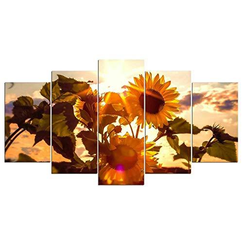 QMCVCDD 5 Pieza Cuadro En Lienzo 5 Piezas Cuadros 5 Partes Modernos Cuadros Impresión Impresión Artísticagirasol Gigante En Sol Imagen Gráfica Lienzo XXL Moderno Cuadro En Lienzo 5 Piezas Sin Marco