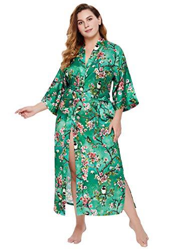 Coucoland Charmeuse - Kimono de satén con estampado de flores, tamaño grande, bata larga para mujer, boda, niña, fiesta, pijama largo
