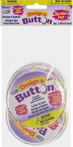 "Darice 2406-39BV Easily Create Your Own Button Designs – Clear Plastic Pieces Pop Apart with No Tools Necessary – Decorate Insert or Use Photos –Traditional Pin Back, 3.65"" Diameter, 6 Piece"