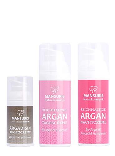 Bio Gesichtscreme 3er Set - Argan Tagescreme und Nachtcreme & Argadisin Augencreme mit Arganöl für das Gesicht, Naturkosmetik spendet Feuchtigkeit für trockene & unreine Haut, 2 x 50 ml, 1 x 30 ml