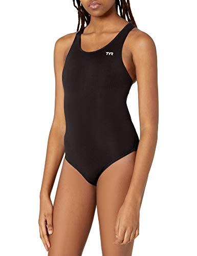 TYR SPORT Women's Durafast Elite Solid Maxfit Swimsuit (Black, Size 40)