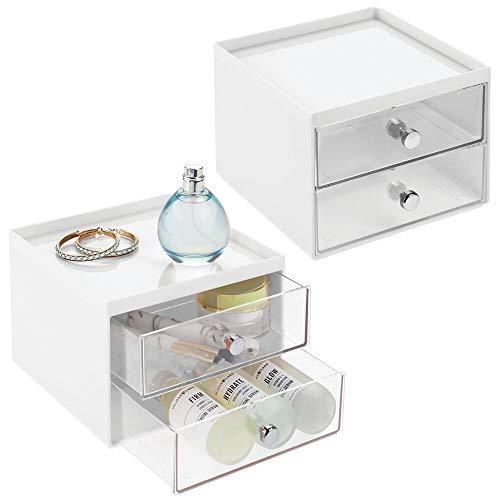 mDesign Juego de 2 cajoneras de plástico resistente – Práctico organizador de cosméticos con dos cajones – Elegante organizador de baño con tiradores cromados – blanco y transparente