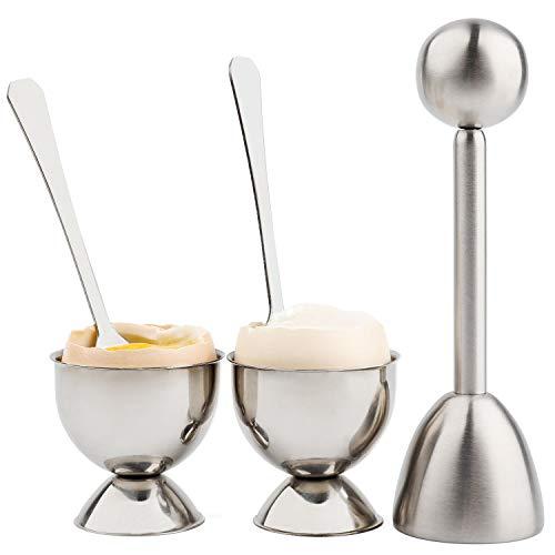 Eierschneider-Set mit weicher, hart gekochten Eiern, Eierknacker mit 2 Tassen, 2 Löffeln, 1 Topper, Cutter Shell Separator Entferner, Edelstahl Küchenwerkzeug
