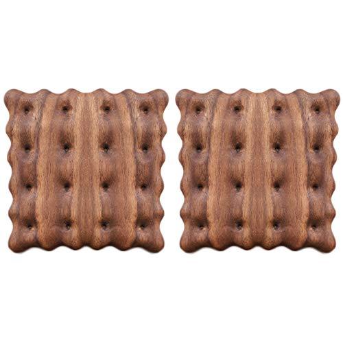 コースター 木製コースター 茶托 滑り止め 茶パッド 耐熱 防水 断熱パッド 瓶敷 鍋敷き クッキー (2個セット, クルミ)