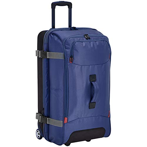 Amazon Basics – Bolsa de viaje Grande con ruedas, Azul