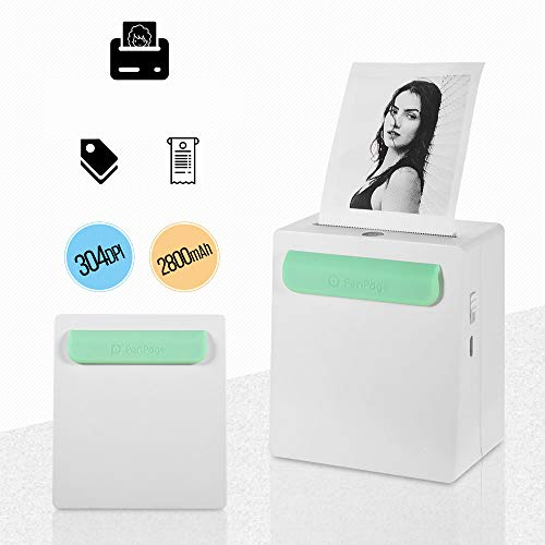 Aibecy PeriPage A8 Mini Fotodrucker BT-Thermodrucker Mobiler Drucker Pocket Drucker Energienbank Funktion Clip für Android iOS Smartphone Windows (304DPI)